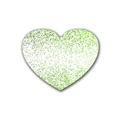 Green Square Background Color Mosaic Heart Coaster (4 Pack)