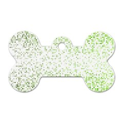 Green Square Background Color Mosaic Dog Tag Bone (one Side)