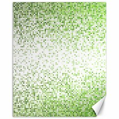 Green Square Background Color Mosaic Canvas 11  X 14