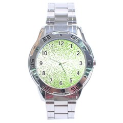 Green Square Background Color Mosaic Stainless Steel Analogue Watch