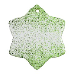 Green Square Background Color Mosaic Ornament (snowflake)