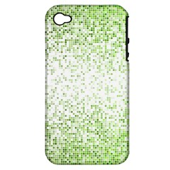 Green Square Background Color Mosaic Apple Iphone 4/4s Hardshell Case (pc+silicone)
