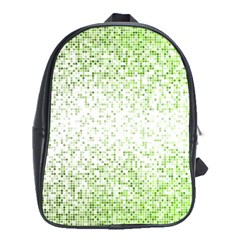 Green Square Background Color Mosaic School Bag (xl)
