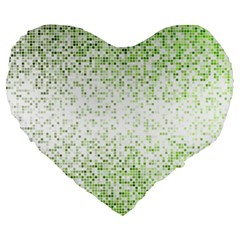 Green Square Background Color Mosaic Large 19  Premium Heart Shape Cushions