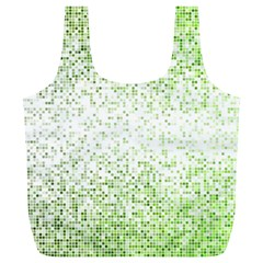 Green Square Background Color Mosaic Full Print Recycle Bags (l)