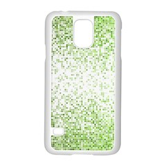 Green Square Background Color Mosaic Samsung Galaxy S5 Case (white)