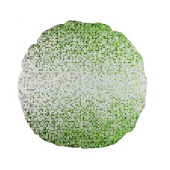Green Square Background Color Mosaic Standard 15  Premium Flano Round Cushions