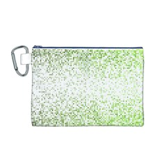 Green Square Background Color Mosaic Canvas Cosmetic Bag (m)