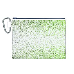 Green Square Background Color Mosaic Canvas Cosmetic Bag (l)