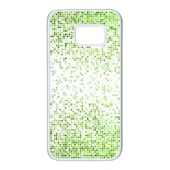 Green Square Background Color Mosaic Samsung Galaxy S7 White Seamless Case