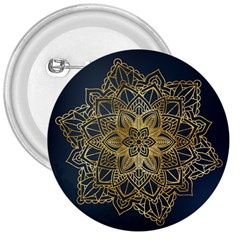 Gold Mandala Floral Ornament Ethnic 3  Buttons