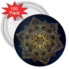 Gold Mandala Floral Ornament Ethnic 3  Buttons (100 Pack)