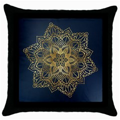 Gold Mandala Floral Ornament Ethnic Throw Pillow Case (black)
