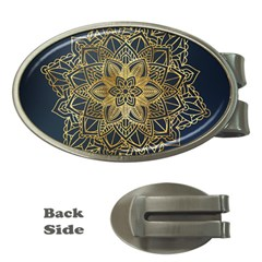 Gold Mandala Floral Ornament Ethnic Money Clips (oval)