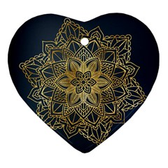 Gold Mandala Floral Ornament Ethnic Heart Ornament (two Sides)
