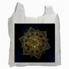Gold Mandala Floral Ornament Ethnic Recycle Bag (one Side)