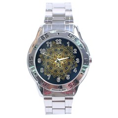 Gold Mandala Floral Ornament Ethnic Stainless Steel Analogue Watch