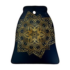 Gold Mandala Floral Ornament Ethnic Bell Ornament (two Sides)