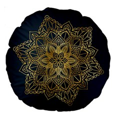 Gold Mandala Floral Ornament Ethnic Large 18  Premium Round Cushions