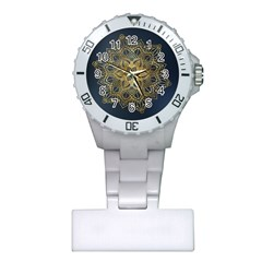 Gold Mandala Floral Ornament Ethnic Plastic Nurses Watch
