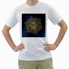 Gold Mandala Floral Ornament Ethnic Men s T Shirt (white)