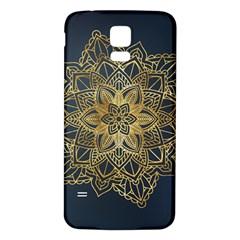 Gold Mandala Floral Ornament Ethnic Samsung Galaxy S5 Back Case (white)