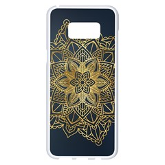 Gold Mandala Floral Ornament Ethnic Samsung Galaxy S8 Plus White Seamless Case