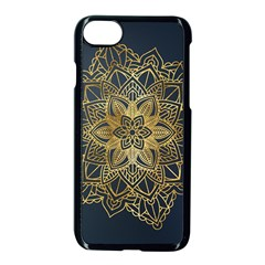 Gold Mandala Floral Ornament Ethnic Apple Iphone 8 Seamless Case (black)