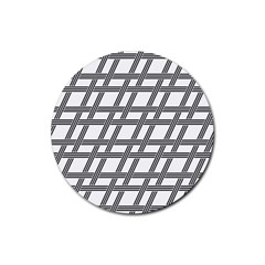 Grid Pattern Seamless Monochrome Rubber Coaster (round)