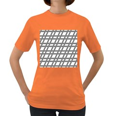 Grid Pattern Seamless Monochrome Women s Dark T Shirt