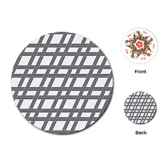 Grid Pattern Seamless Monochrome Playing Cards (round)