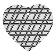 Grid Pattern Seamless Monochrome Heart Ornament (two Sides)