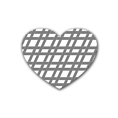 Grid Pattern Seamless Monochrome Heart Coaster (4 Pack)