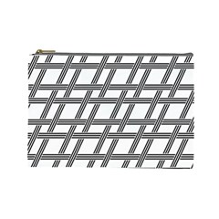 Grid Pattern Seamless Monochrome Cosmetic Bag (large)