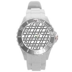 Grid Pattern Seamless Monochrome Round Plastic Sport Watch (l)
