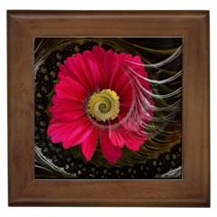 Fantasy Flower Fractal Blossom Framed Tiles