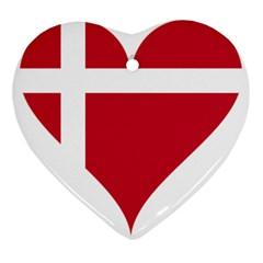 Heart Love Flag Denmark Red Cross Ornament (heart)