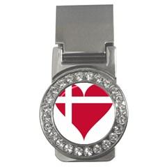 Heart Love Flag Denmark Red Cross Money Clips (cz)
