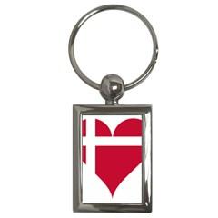 Heart Love Flag Denmark Red Cross Key Chains (rectangle)