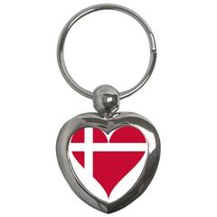 Heart Love Flag Denmark Red Cross Key Chains (heart)
