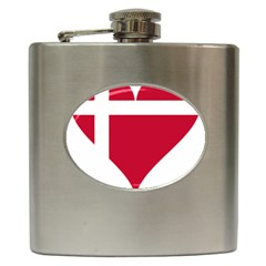 Heart Love Flag Denmark Red Cross Hip Flask (6 Oz)