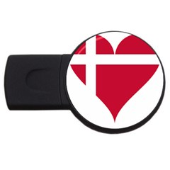 Heart Love Flag Denmark Red Cross Usb Flash Drive Round (2 Gb)