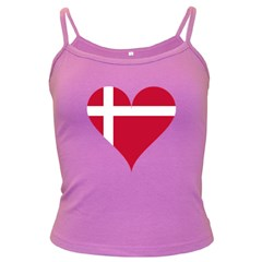 Heart Love Flag Denmark Red Cross Dark Spaghetti Tank