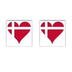 Heart Love Flag Denmark Red Cross Cufflinks (square)