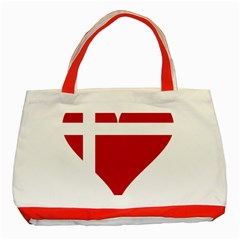 Heart Love Flag Denmark Red Cross Classic Tote Bag (red)