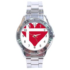 Heart Love Flag Denmark Red Cross Stainless Steel Analogue Watch