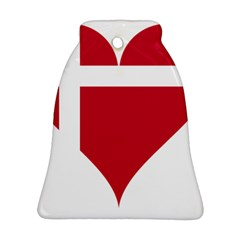 Heart Love Flag Denmark Red Cross Bell Ornament (two Sides)