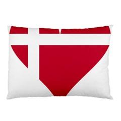 Heart Love Flag Denmark Red Cross Pillow Case (two Sides)