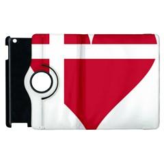 Heart Love Flag Denmark Red Cross Apple Ipad 2 Flip 360 Case