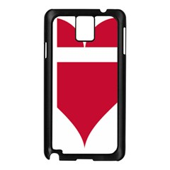 Heart Love Flag Denmark Red Cross Samsung Galaxy Note 3 N9005 Case (black)